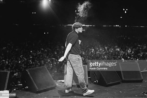 Singer Shaun Ryder performing with English pop group Happy Mondays at the Rock in Rio 2 festival, Maracana stadium, Rio de Janeiro, Brazil, 26th...
