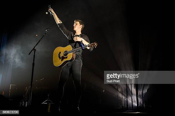 Singer Shawn Mendes performs at WaMu Theater on July 26, 2016 in Seattle, Washington.