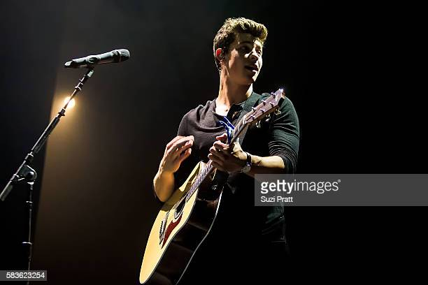 Singer Shawn Mendes performs at WaMu Theater on July 26 2016 in Seattle Washington