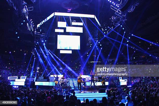 Singer Shawn Mendes performs during WE Day Toronto at the Air Canada Centre on October 1 2015 in Toronto Canada