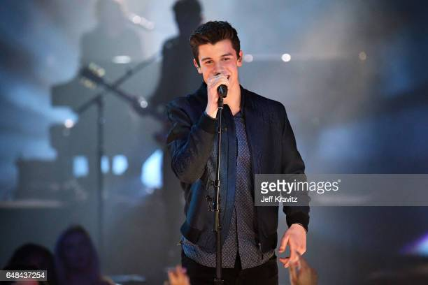 Singer Shawn Mendes performs onstage at the 2017 iHeartRadio Music Awards which broadcast live on Turner's TBS, TNT, and truTV at The Forum on March...