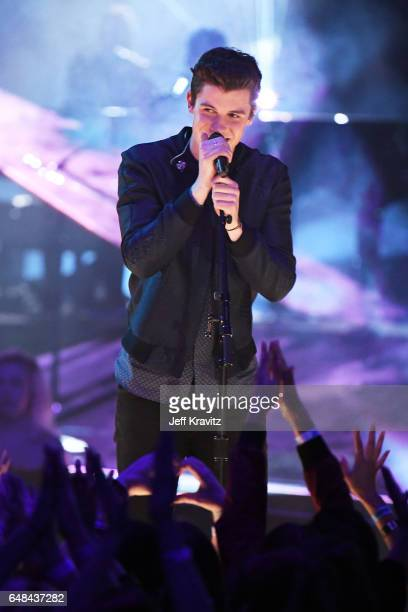Singer Shawn Mendes performs onstage at the 2017 iHeartRadio Music Awards which broadcast live on Turner's TBS TNT and truTV at The Forum on March 5...