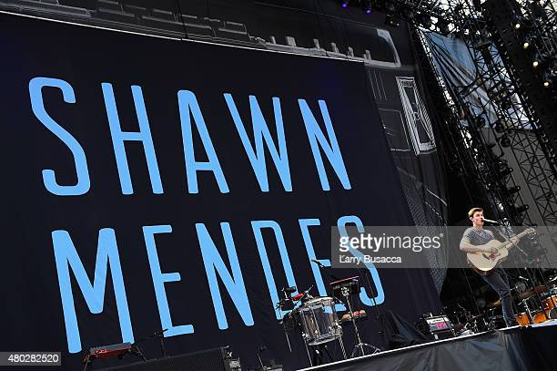 Singer Shawn Mendes performs onstage during Taylor Swift's The 1989 World Tour Live at MetLife Stadium on July 10 2015 in East Rutherford New Jersey