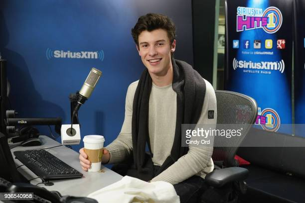 Singer Shawn Mendes visits The Morning Mash Up on SiriusXM Hits 1 at the SiriusXM Studios on March 22 2018 in New York City