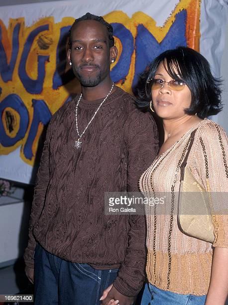 Singer Shawn Stockman of Boyz II Men and girlfriend Sharonda Jones attend the Kingdom Come Beverly Hills Premiere on April 5 2001 at the WGA Theatre...