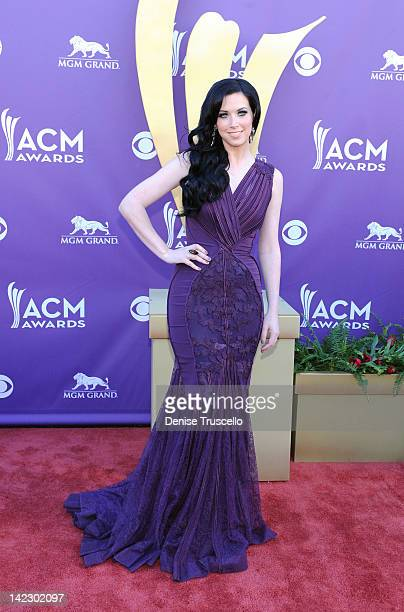 Singer Shawna Thompson of the band Thompson Square arrives at the 47th Annual Academy Of Country Music Awards held at the MGM Grand Garden Arena on...