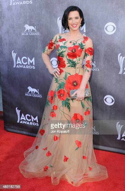 Singer Shawna Thompson of Thompson Square arrives at the 49th Annual Academy Of Country Music Awards at the MGM Grand Hotel and Casino on April 6...