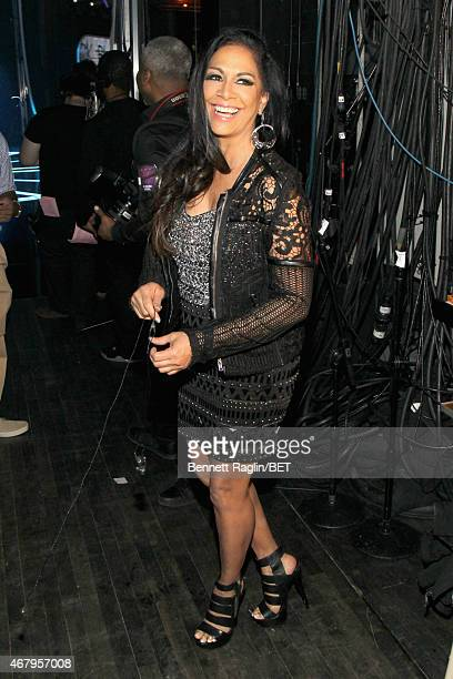 Singer Sheila E poses backstage at 'Black Girls Rock' BET Special at NJPAC – Prudential Hall on March 28 2015 in Newark New Jersey