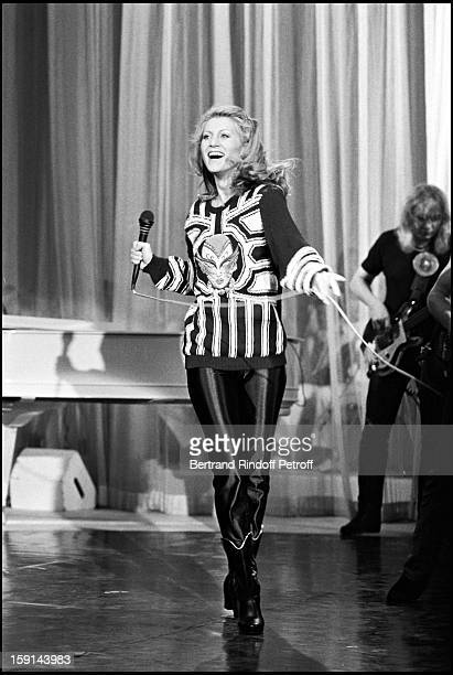 Singer Sheila performs on stage during a television show in 1980