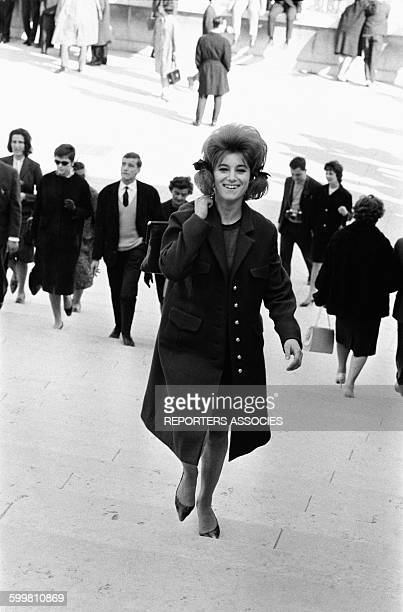 Singer Sheila Strolling in Paris France on April 20 1963