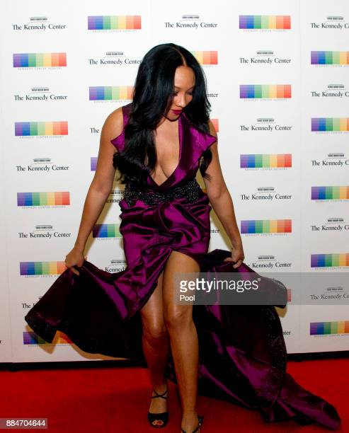 Singer Shelea Frazier arrives for the formal Artist's Dinner hosted by United States Secretary of State Rex Tillerson in their honor at the US...