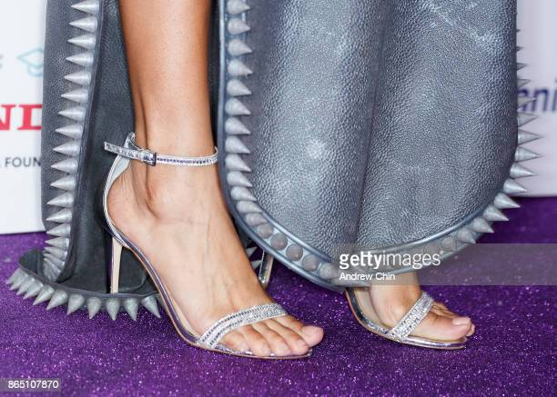 Singer Shelea Frazier shoe detail arrives for the David Foster Foundation Gala at Rogers Arena on October 21 2017 in Vancouver Canada