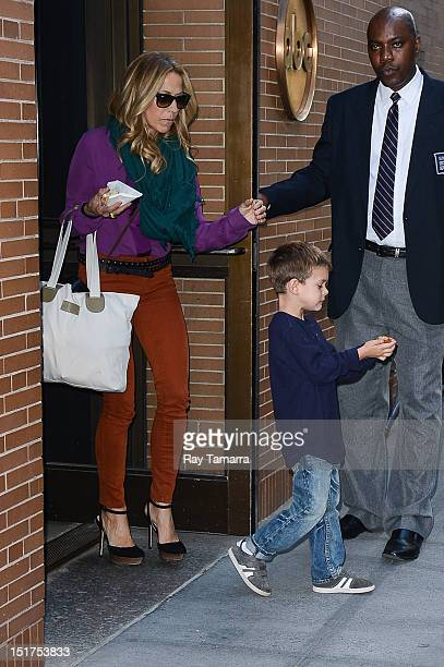 Singer Sheryl Crow and Wyatt Steven Crow leave the Katie taping at the ABC Lincoln Center Studios on September 10 2012 in New York City