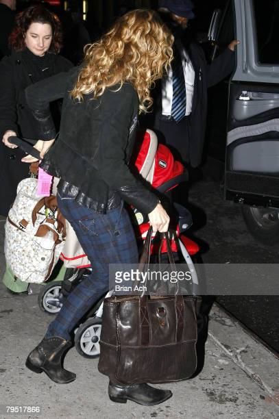 Singer Sheryl Crow with her child Wyatt Steven as she visits Late Show with David Letterman on February 4 at the Ed Sullivan Theatre in New York City