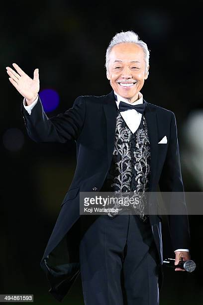 Singer Shinji Tanimura performs live during the final ceremony for the Sayonara National Stadium event at National Stadium on May 31 2014 in Tokyo...