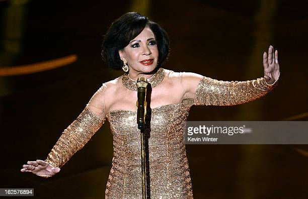 Singer Shirley Bassey performs onstage during the Oscars held at the Dolby Theatre on February 24 2013 in Hollywood California