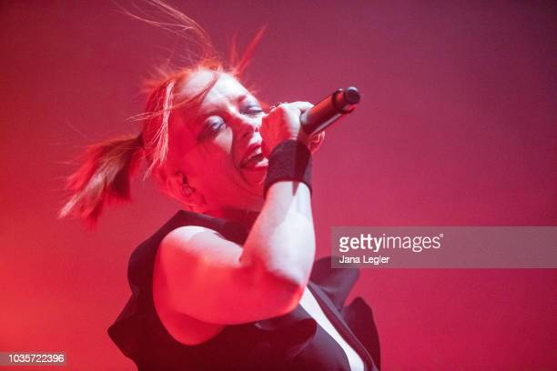 Guitarist Steve Marker and singer Shirley Manson of Garbage perform live on stage during a concert at the Huxleys Neue Welt on September 18 2018 in...