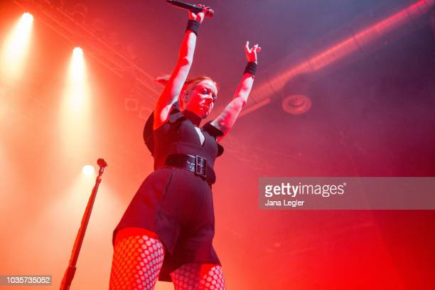 Singer Shirley Manson of Garbage performs live on stage during a concert at the Huxleys Neue Welt on September 18 2018 in Berlin Germany