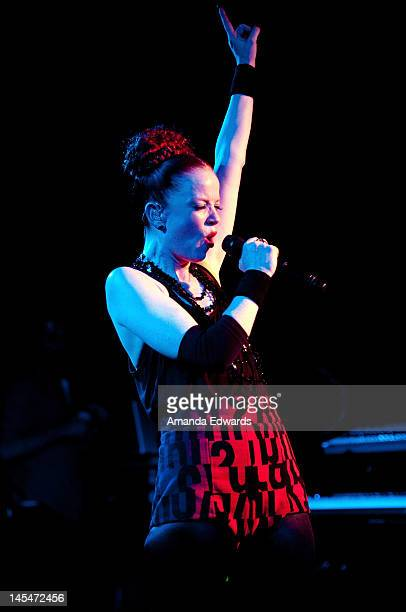 Singer Shirley Manson of Garbage performs onstage at the NYLON Magazine June/July Music Issue Launch Party at The Roxy Theatre on May 30 2012 in West...