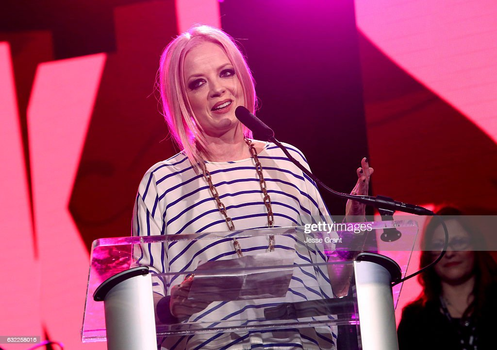Singer Shirley Manson speaks on stage at the She Rocks Awards during the 2017 NAMM Show at the Anaheim Convention Center on January 20, 2017 in Anaheim, California.