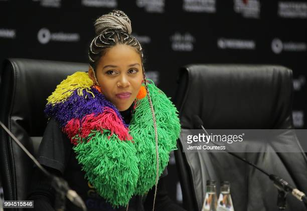 Singer Sho Madjozi onstage during the press conference for the Global Citizen Festival Mandela 100 at Sandton Convention Center on July 9 2018 in...