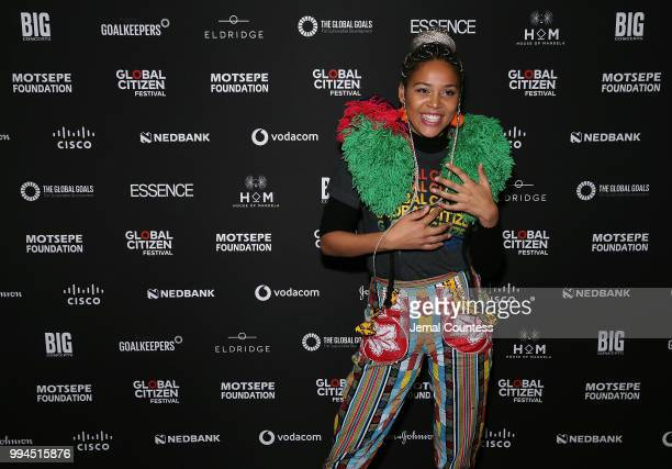 Singer Sho Madjozi poses for a photo during a press conference at Sandton Convention Center on July 9 2018 in Johannesburg South Africa