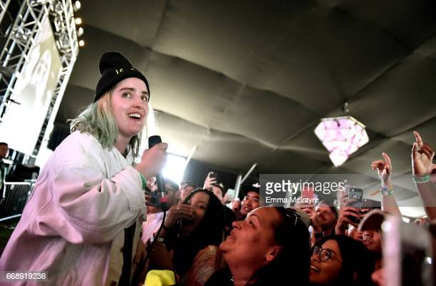 Singer Shura performs at the Mojave Tent during day 2 of the Coachella Valley Music And Arts Festival at the Empire Polo Club on April 15 2017 in...