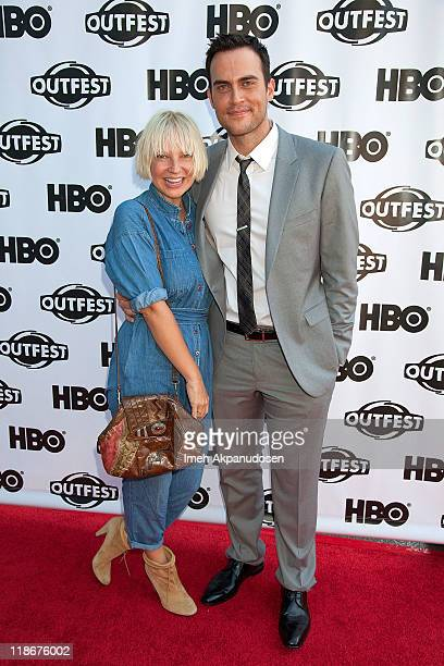 Singer Sia and actor Cheyenne Jackson arrive at the 2011 Outfest screening of 'The Green' at Directors Guild Of America on July 9 2011 in Los Angeles...
