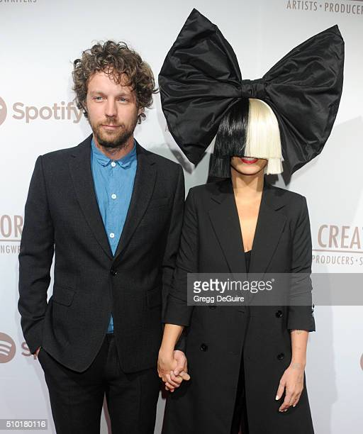 Singer Sia and producer Erik Anders Lang arrive at The Creators Party Presented by Spotify Cicada Los Angeles at Cicada on February 13 2016 in Los...