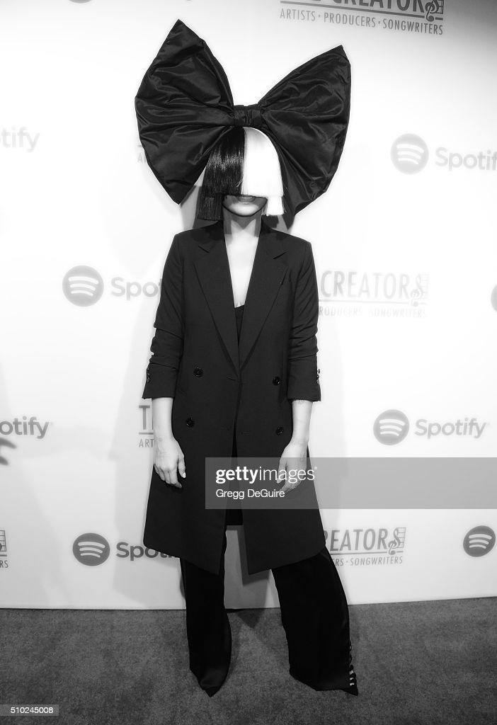 Singer Sia arrives at The Creators Party Presented by Spotify, Cicada, Los Angeles at Cicada on February 13, 2016 in Los Angeles, California.