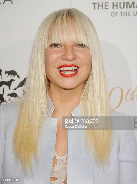 Singer Sia arrives at The Humane Society Of The United States 60th anniversary benefit gala at The Beverly Hilton Hotel on March 29 2014 in Beverly...
