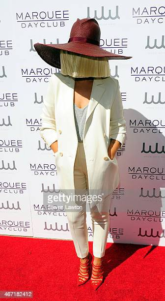 Singer Sia attends the Marquee Dayclub's season preview at The Cosmopolitan of Las Vegas on March 21 2015 in Las Vegas Nevada