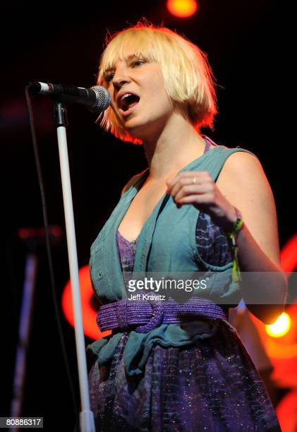 Singer Sia Furler performs during day 3 of the Coachella Valley Music and Arts Festival held at the Empire Polo Field on April 27 2008 in Indio...