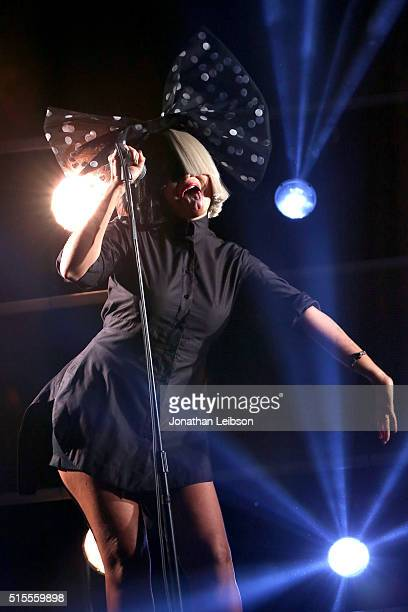 Singer Sia performs onstage at Samsung Galaxy Life Fest at SXSW 2016 on March 13 2016 in Austin Texas