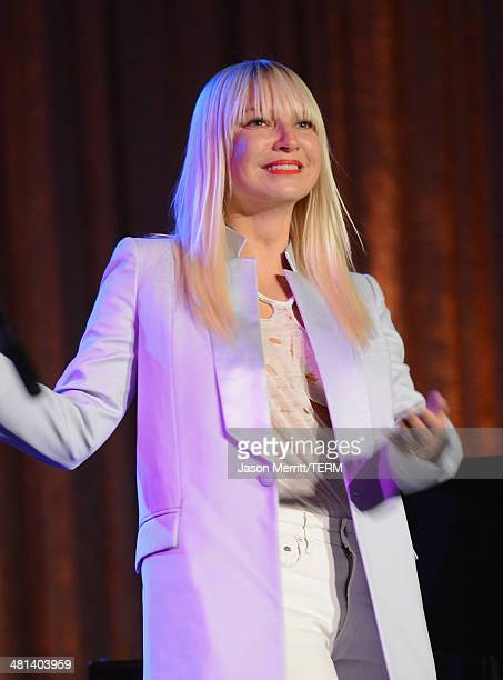 Singer Sia performs onstage at the Humane Society of The United States 60th Anniversary Gala at The Beverly Hilton Hotel on March 29 2014 in Beverly...
