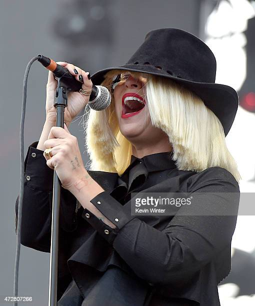 Singer Sia performs onstage during 1027 KIIS FM's 2015 Wango Tango at StubHub Center on May 9 2015 in Los Angeles California