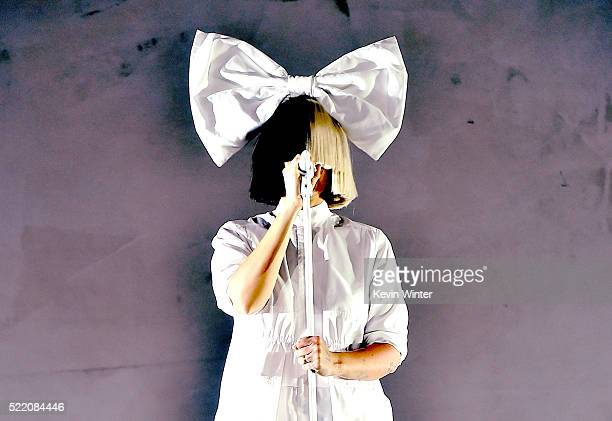 Singer Sia performs onstage during day 3 of the 2016 Coachella Valley Music Arts Festival Weekend 1 at the Empire Polo Club on April 17 2016 in Indio...