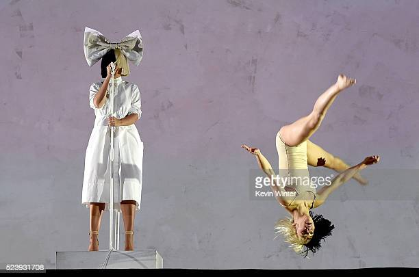 Singer Sia performs onstage during day 3 of the 2016 Coachella Valley Music Arts Festival Weekend 2 at the Empire Polo Club on April 24 2016 in Indio...