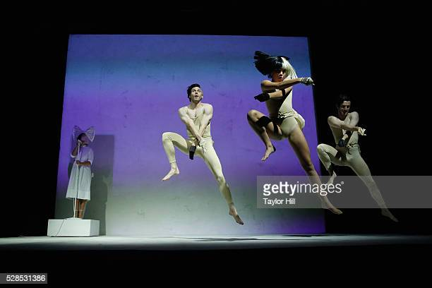 Singer Sia performs with dancers during YouTube Brandcast presented by Google at Jacob Javitz Center on May 5, 2016 in New York City.