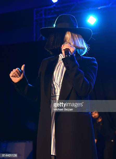 Singer Sia speaks on stage at the 12th Annual Desert Smash benefiting St Jude's Children Research Hospital on March 8 2016 in Rancho Mirage California