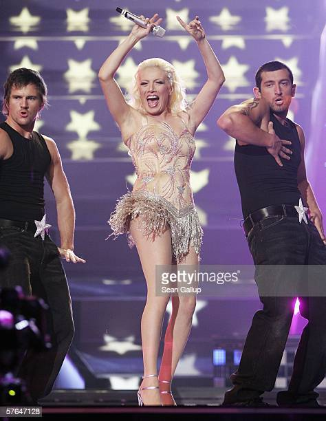 Singer Sibel Tuzun of Turkey performs at the dress rehearsal prior to the semifinals of the 2006 Eurovision Song Contest May 18 2006 in Athens Greece