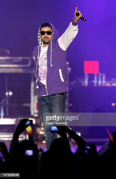 Singer Sido performs live during a special concert 'Wir Beaten Mehr' at the O2 World on January 8 2011 in Berlin Germany