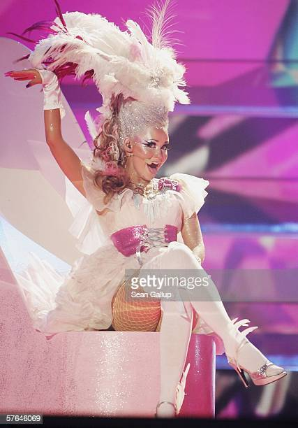 Singer Silvia Night of Iceland performs at the dress rehearsal prior to the semifinals of the 2006 Eurovision Song Contest May 18 2006 in Athens...