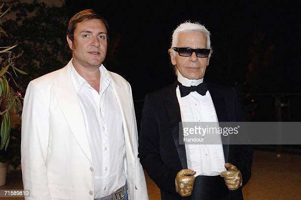Singer Simon Le Bon and designer Karl Lagerfeld attend the Monaco Red Cross Ball under the Presidency of HSH Prince Albert II in the Salles des...