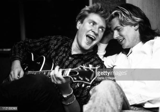 Singer Simon le Bon and guitarist John Taylor of Duran Duran at the Air Studios in London 1988