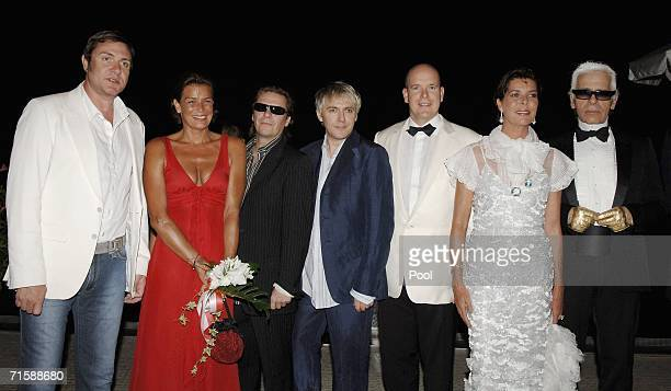 Singer Simon Le Bon of Duran Duran Princess Stephanie of Monaco musicians Andy Taylor and Nick Rhodes of Duran Duran Prince Albert II of Monaco...