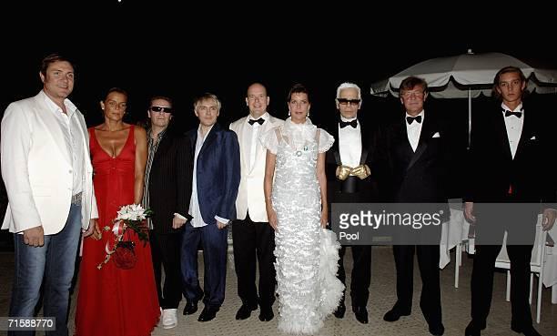 Singer Simon Le Bon of Duran Duran princess Stephanie of Monaco musicians Andy Taylor and Nick Rhodes of Duran Duran prince Albert II of Monaco...
