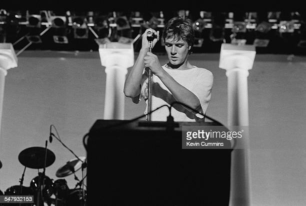 Singer Simon Le Bon performing with English New Romantic pop group Duran Duran at the Villa Park football stadium Birmingham 23rd July 1983