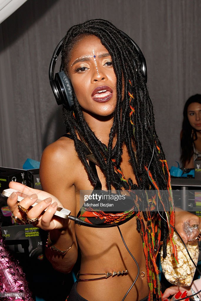 Singer Simone Battle of G.R.L. with Flips Audio, the exclusive headphone sponsor of 102.7 KIIS FM's 2014 Wango Tango, backstage at StubHub Center on May 10, 2014 in Los Angeles, California.