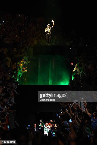 Singer Sinead O'Connor performs during the UFC 189 event inside MGM Grand Garden Arena on July 11 2015 in Las Vegas Nevada